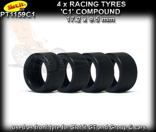 SLOT.IT TYRES SIPT1159C1 - C1 Slick Racing Tyres 17.2 x 9.5mm