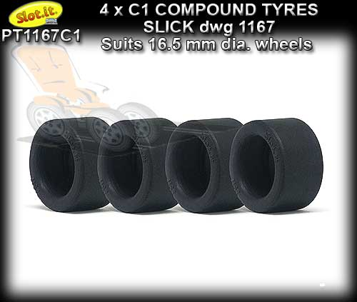 SLOT.IT TYRES PT1167C1 - 4 x C1 Compound slick