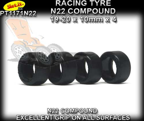 SLOT.IT TYRES PT1171N22 - N22 Compound Slick 19-20 x 10mm