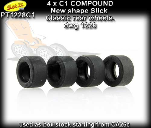 SLOT.IT TYRES PT1228C1 - C1 Compound - for Classic rear wheels