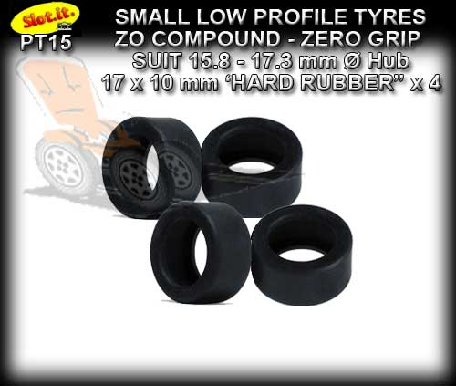SLOT.IT TYRES PT15 - Z0 Zero Grip (Front wheels) 17 x 10mm