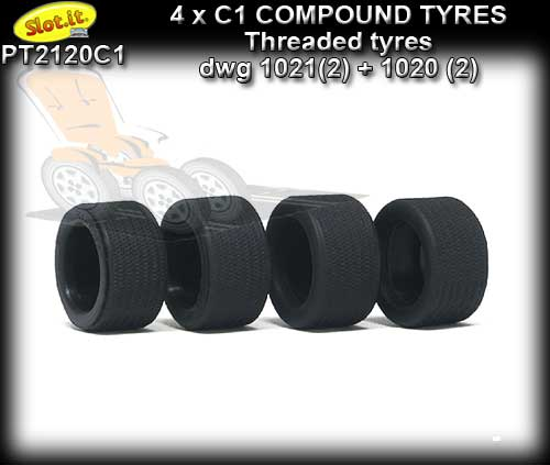 SLOT.IT TYRES PT2120C1 - C1 Compound threaded for classic wheels