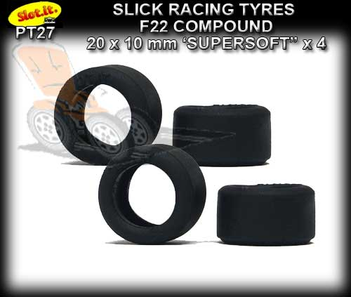 SLOT.IT TYRES PT27 - F22 Slick Racing Tyre Any Track 20 x10mm