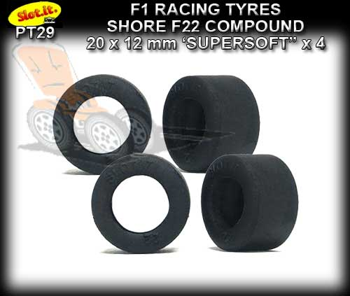 SLOT.IT TYRES PT29 - F22 F1 Grooved Racing Tyres 20 x 12mm