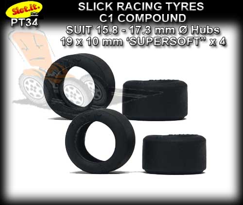 SLOT.IT TYRES PT34 - C1 Slick Racing Tyre 19 x 10mm