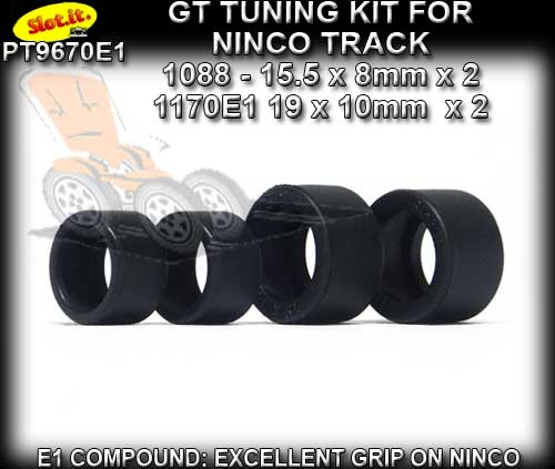SLOT.IT TYRES PT9670E1 - GT Tuning Tyres for Ninco track
