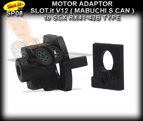 SLOT.IT MOTOR SP08 - Motor Adaptor - V12/3 to SCX RX Shape Motor