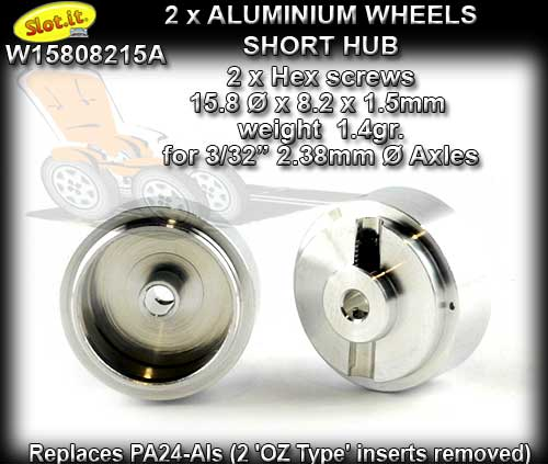 SLOT.IT WHEELS W15808215A - 1.4gr Aluminum 15.8 x 8.2 mm - Short