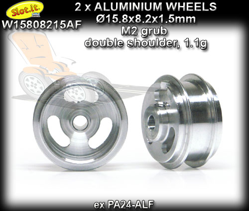SLOT.IT WHEELS W15808215AF - 1.1gr Aluminum 15.8 x 8.2 x 1.5 mm