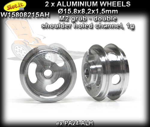 SLOT.IT WHEELS W15808215AH - 1gr Aluminum 15.8 x 8.2 x 1.5 mm