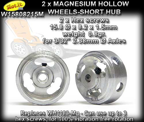 SLOT.IT WHEELS W15808215M - 0.8gr. Magnesium 15.8 x 8.2mm Short