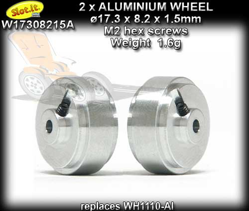 SLOT.IT WHEELS W17308215A - Aluminum 17.3 x 8.2 x 1.5 mm 1.6gr