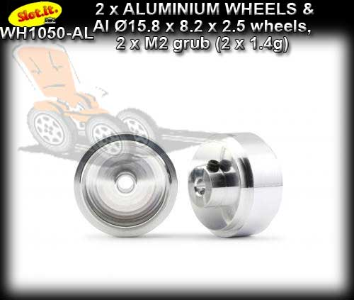 SLOT.IT WHEELS WH1050-AL - 2 x Aluminum 15.8 x 8.2 x 2.5mm 1.4gr