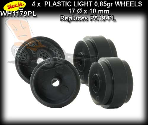 SLOT.IT WHEELS WH1179-PL - 4 x Plastic 17 x 10mm wheels 0.85gr
