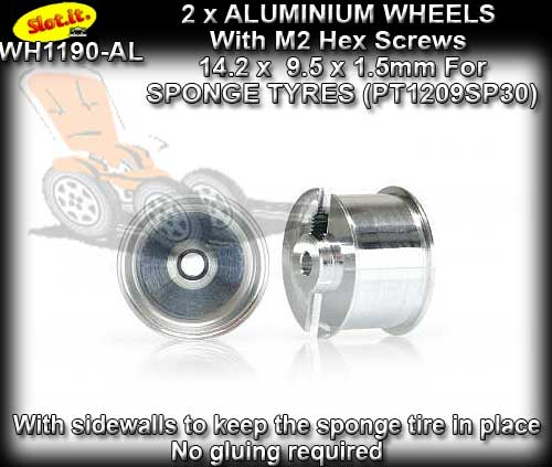 SLOT.IT WHEELS WH1190-AL - 2 x 14.2 x 9.5mm wheels - sponge tyre