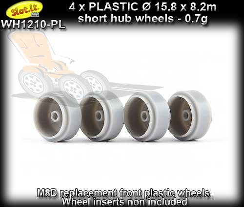 SLOT.IT WHEELS WH1210-PL - 4 x Plastic 15.8mm x 8.2mm short hubs