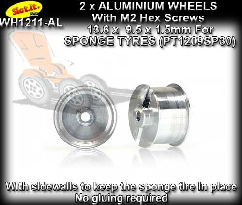 SLOT.IT WHEELS WH1211-AL - 2 x 13.6 x 9.5mm wheels - sponge tyre