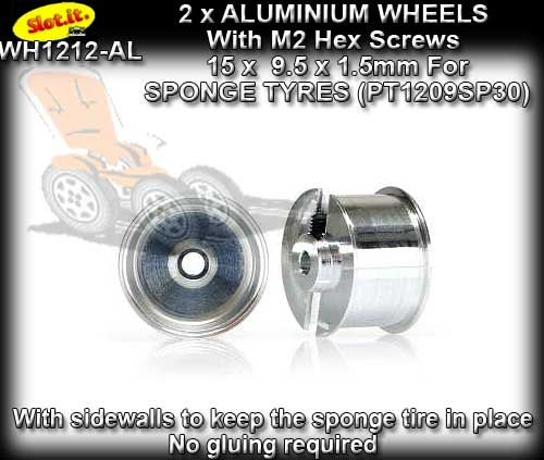 SLOT.IT WHEELS WH1212-AL - 2 x 15 x 9.5mm wheels - sponge tyre