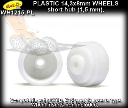 SLOT.IT WHEELS WH1215-PL - 4 x plastic 14.3 x 8mm short hubs