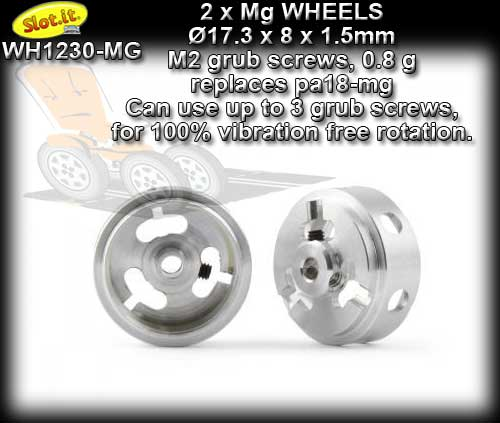 SLOT.IT WHEELS WH1230-MG - 0.8 gram Magnesium 17.3 x 8 mm