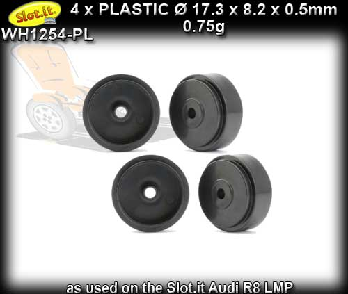 SLOT.IT WHEELS WH1254-PL - 4 x Plastic 17.3 x 8.2 x 0.5mm wheels