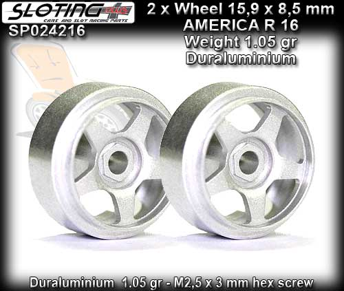 SLOTING PLUS WHEELS SP024216 - AMERICA 16 Alu-Magn 15.9 x 8.5mm