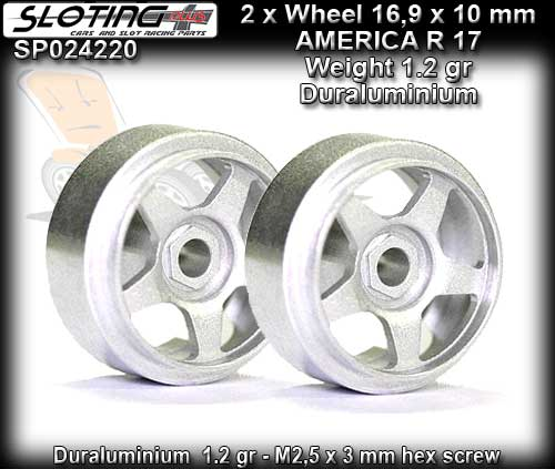 SLOTING PLUS WHEELS SP024220 - AMERICA 17 Alu-Magnes 16.9 x 10mm