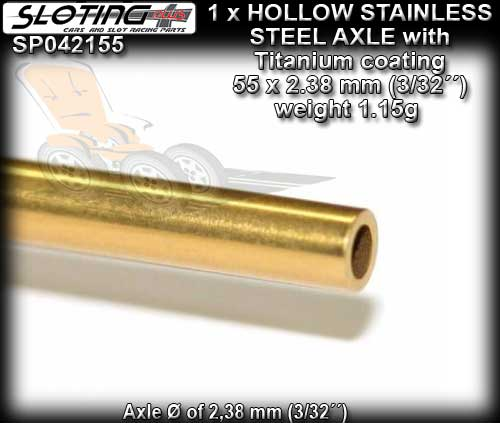 SLOTING PLUS AXLE SP042155 - Stainless Steel Hollow Axle - 55mm