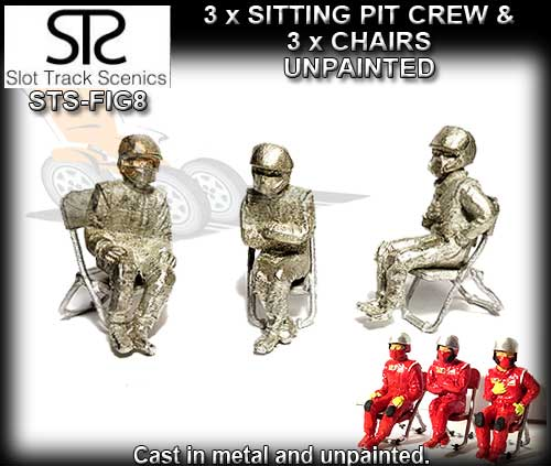 STS FIGURES FIG8 - Sitting Pit Crew & 3 Chair (metal unpainted)