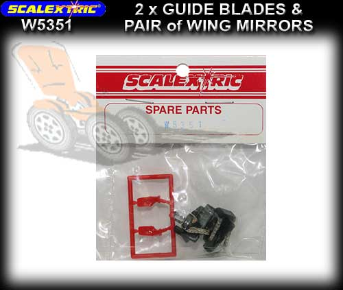 SCALEXTRIC GUIDE W5351 - 2 x Guide Blades & Red mirror pack