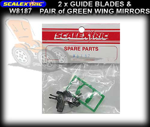 SCALEXTRIC GUIDE W8187 - 2 x Guide Blades & Green mirror pack