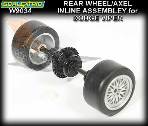 SCALEXTRIC WHEEL/AXLE ASSEMBLY W9034 - Rear Dodge Viper