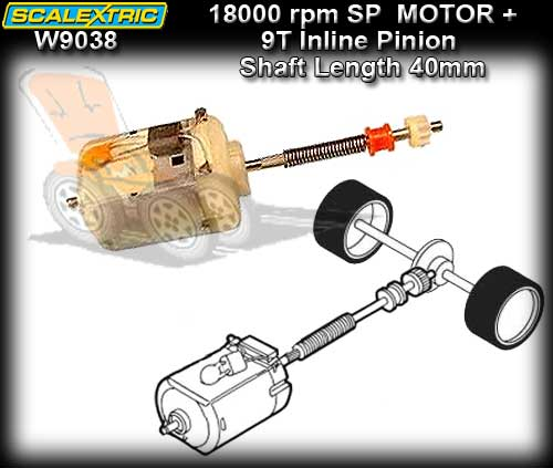 SCALEXTRIC MOTOR W9038 - 18000 rpm S-Can with Drive Shaft