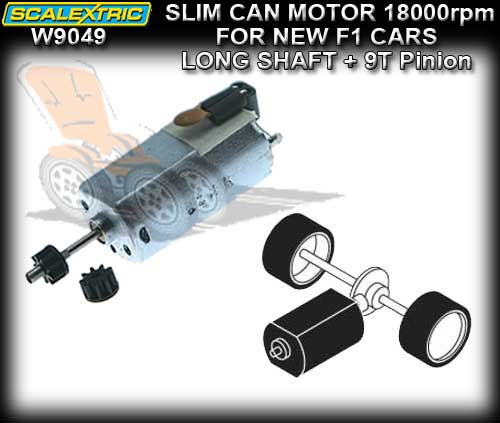 SCALEXTRIC MOTOR W9049 - 18000 rpm FF Slim-Can Long Shaft+9T