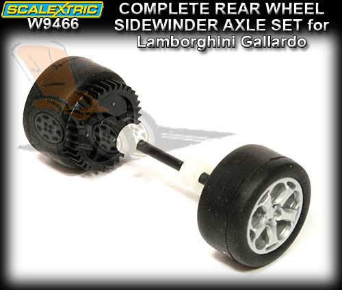 SCALEXTRIC WHEEL/AXLE ASSEMBLEY W9466 - Lamborghini Gallardo Rea