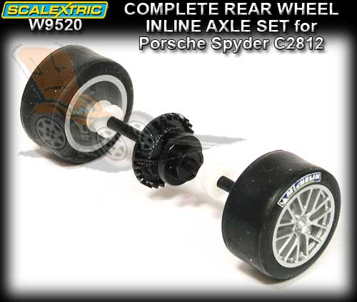 SCALEXTRIC WHEEL/AXLE ASSEMBLEY W9520 - Rear for Porsche Spyder