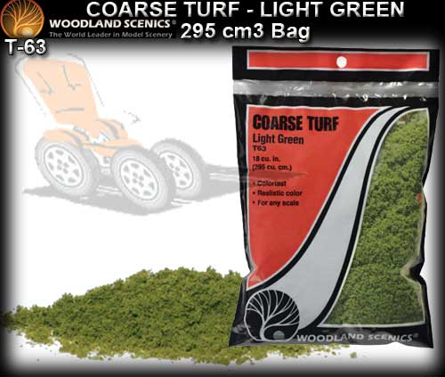 WOODLANDS SCENICS TURF T63 - Course Turf - Light Green