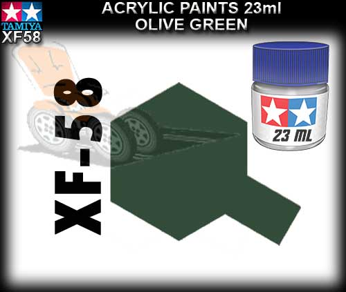 TAMIYA PAINT ACRYLIC XF58 - 23ml Olive Green Acrylic Paint