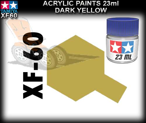 TAMIYA PAINT ACRYLIC XF60 - 23ml Dark Yellow Acrylic Paint
