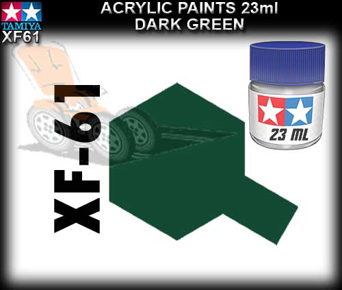 TAMIYA PAINT ACRYLIC XF61 - 23ml Dark Green Acrylic Paint