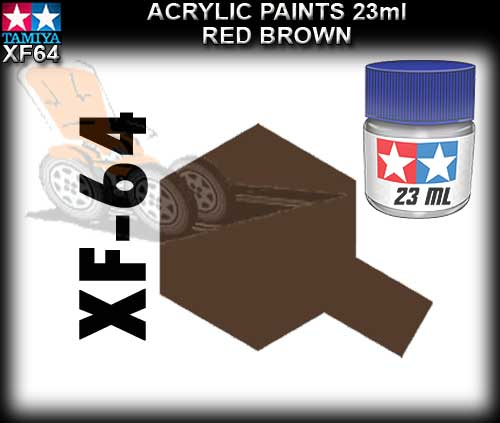 TAMIYA PAINT ACRYLIC XF64 - 23ml Red Brown Acrylic Paint