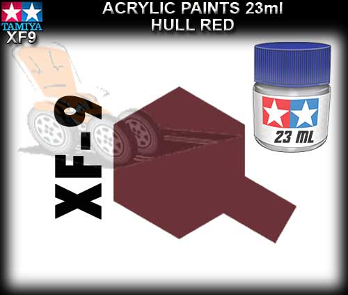 TAMIYA PAINT ACRYLIC XF9 - 23ml Hull Red Acrylic Paint
