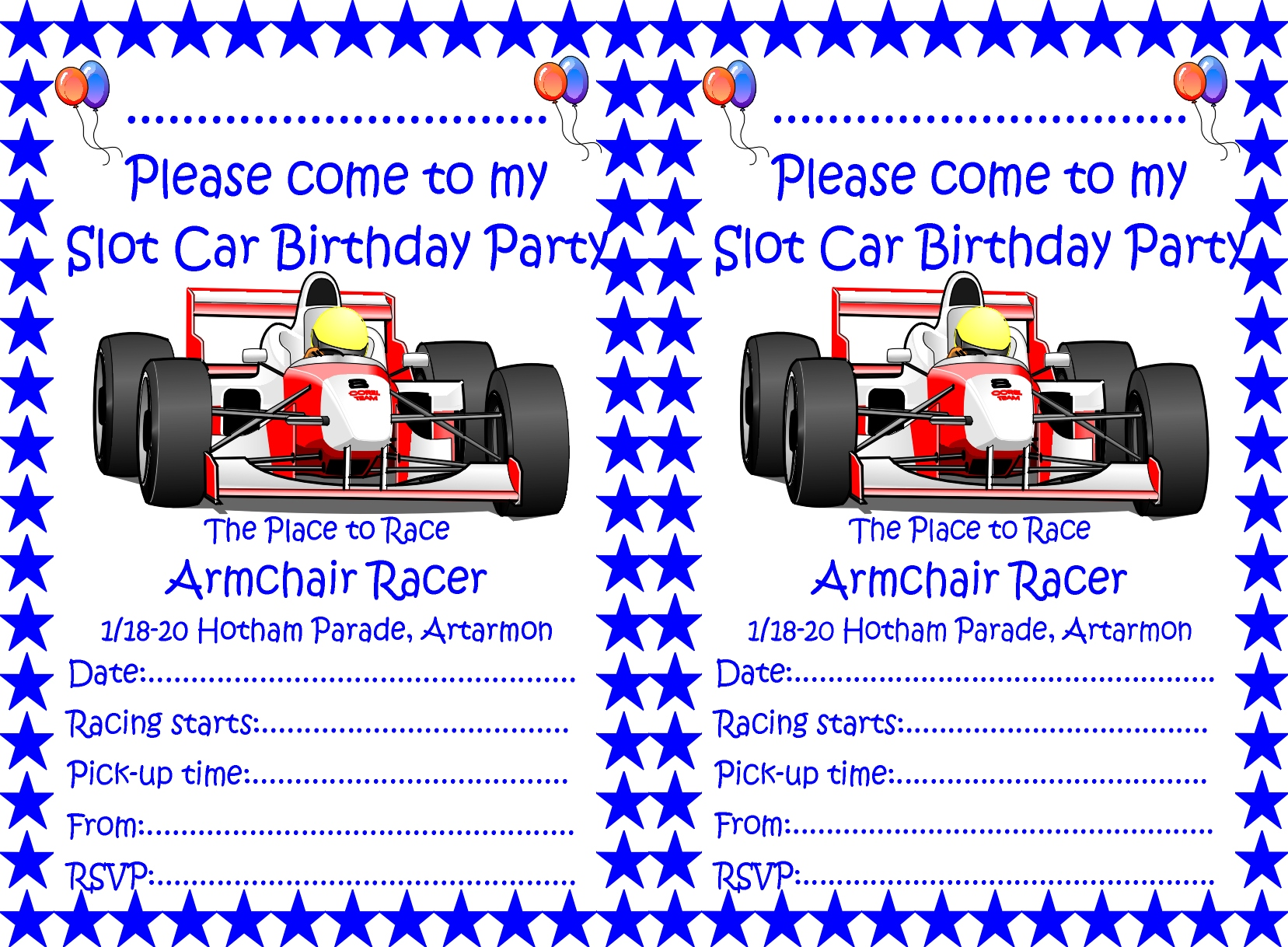 Birthday Parties : Armchair Racer, Slot Cars, Scalextric ...