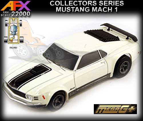 AFX HO 22000 - Ford Mustang Mach-1 - white with black on bonnet