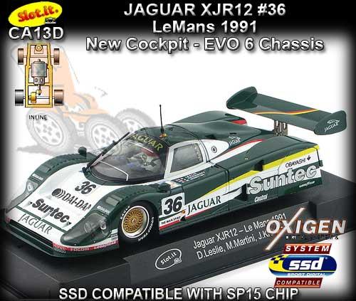 SLOT IT SICA13D JAGUAR XJR12 SUNTEC LEMANS 1991 #36 1//32 SLOT CAR